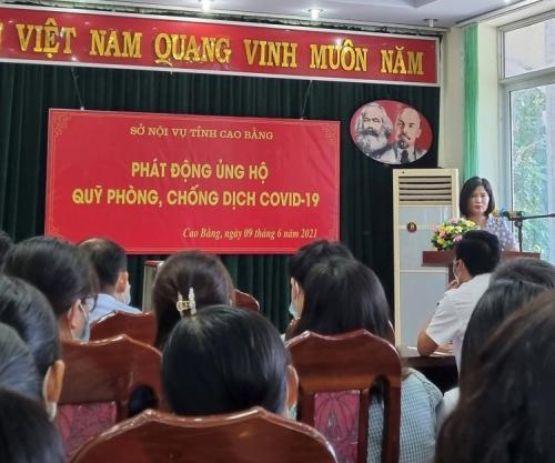 CĐCS Sở Nội vụ tỉnh Cao Bằng phát động ủng hộ Quỹ phòng, chống Covid-19