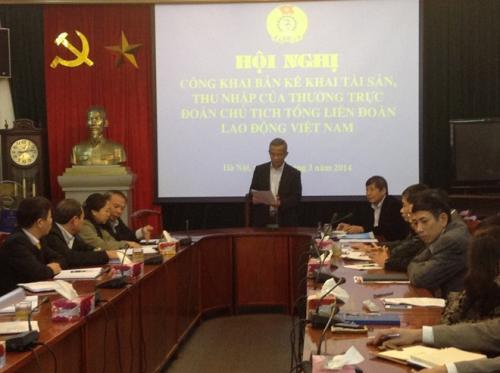 Tổng Liên đoàn Lao động Việt Nam Đoàn Chủ tịch công khai tài sản