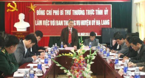 Phó bí thư Thường trực Tỉnh ủy kiểm tra tình hình phát triển KT-XH Huyện Hạ Lang